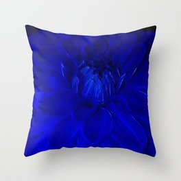 Royal Blue Fractal dahlia Throw Pillow