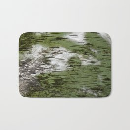 Birch Bark Pattern Green and White Wood Pattern Bring the Outdoors In Bath Mat