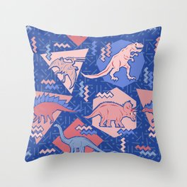 Nineties Dinosaurs Pattern  - Rose Quartz and Serenity version Throw Pillow