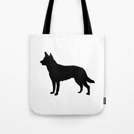 Australian Kelpie dog silhouette dog breed pattern black and white kelpie dog Tote Bag