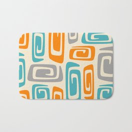 Mid Century Modern Cosmic Abstract 740 Orange Blue and Gray Bath Mat