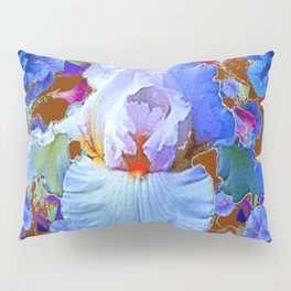 PASTEL IRIS & BLUE  BLUE FLOWERS YELLOW PATTERNS  FLOWERS ART FLOWERS Pillow Sham