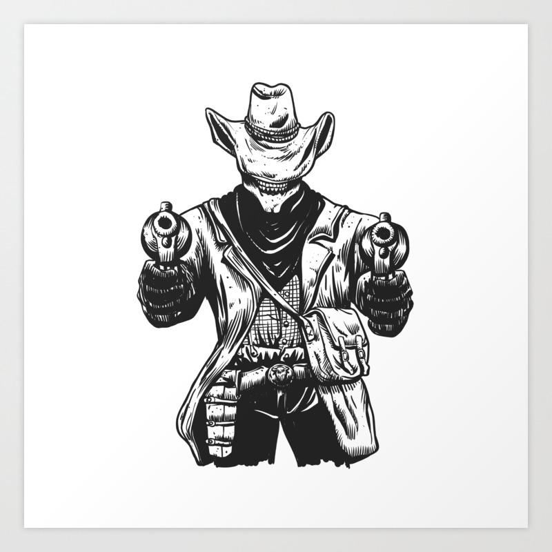 a6429c10f3f0d Wild cowboy skeleton - western skull cartoon Art Print by marios ...