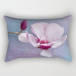 Pink Chinese Magnolia Flower with Bud Rectangular Pillow