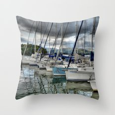 Yachts on Lake Windermere Throw Pillow