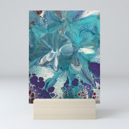 Teal Abstract Floral Mini Art Print
