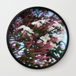 Pink Buds and Jasmine Blossom Close Up Wall Clock