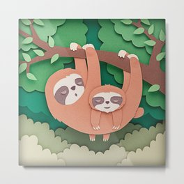 Sloth mother and her baby Metal Print