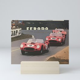 Retro Racing Cars at Le Mans Mini Art Print