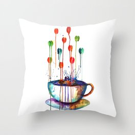 Coffee Splash Throw Pillow