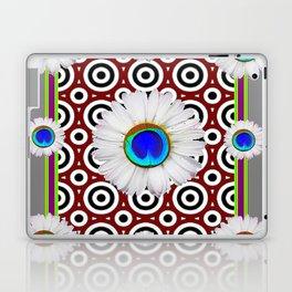 Blue Fantasy Floral Peacock Art Grey Pattern Laptop & iPad Skin