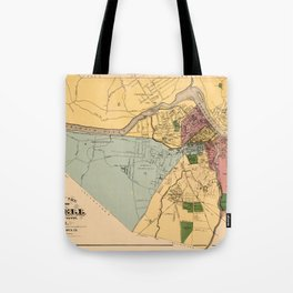 Map Of Lowell 1881 Tote Bag