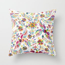Mexican bird and flowers Throw Pillow
