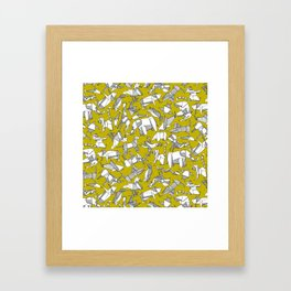 origami animal ditsy chartreuse Framed Art Print