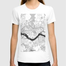 Seoul Map Gray White Womens Fitted Tee X-LARGE