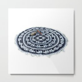 Indian White Elephant Hippie Mandala Roundie Beach Throw Tapestry Metal Print