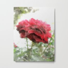 Red Rose with Light 1 Watercolor Metal Print