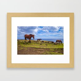 Horses on easter island cliffs Framed Art Print