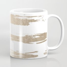 Simply Brushed Stripe White Gold Sands on White Coffee Mug