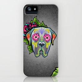 Mastiff in Grey - Day of the Dead Sugar Skull Dog iPhone Case