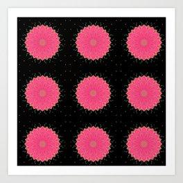 Project 520 | Pink Flowers on Black Art Print