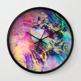 Modern gold marble on pastel pink purple watercolor nebula paint Wall Clock