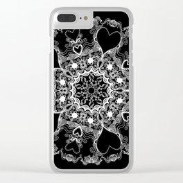 Mandala Project 215 | White on Black Clear iPhone Case
