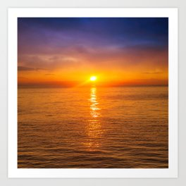 Dawn at Black sea. Morning seascape with mountains.  Art Print