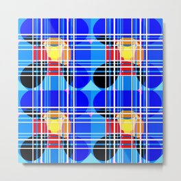 Spheres and lines - Blue and Black Metal Print