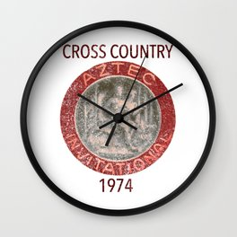 A retro design inspired by the Aztec Invitational Cross Country Meet Wall Clock