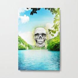 Skull Sun Metal Print
