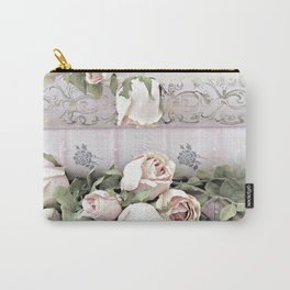 Shabby Chic Dreamy Pink Roses Cottage Floral Decor Carry-All Pouch
