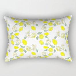 Watercolor . Lemons . Rectangular Pillow