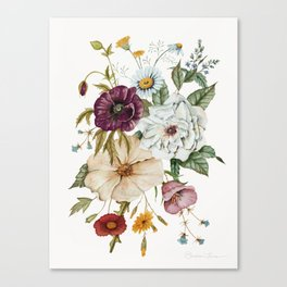 Colorful Wildflower Bouquet on White Canvas Print