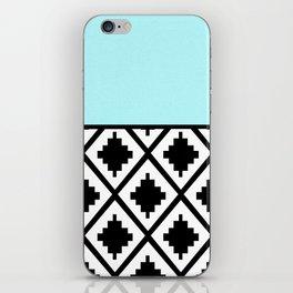 Geometrical aqua blue black white ethno pattern iPhone Skin