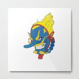 japanese mask blue bad Metal Print