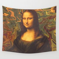 mona lisa Wall Tapestries featuring Mona Lisa Smiles by Cale potts Art