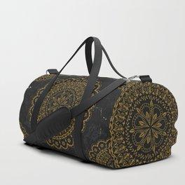 Black and gold moroccan mandala Duffle Bag