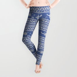 White and Blue Helicopter Aviation Christmas Pattern Leggings