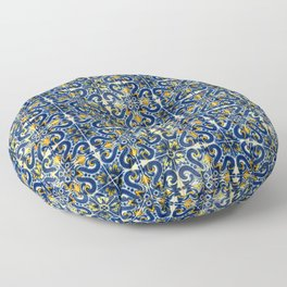 Blue, Yellow and Orange Portuguese Tile  Floor Pillow