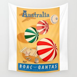 1950s Australia Sunshine And Surf BOAC Qantas Advertising Poster Wall Tapestry