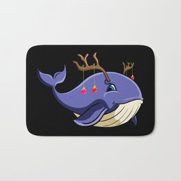 Christmas Whale with antlers Bath Mat