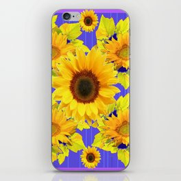 Golden Sunflower Pattern Floral Purple Shades iPhone Skin