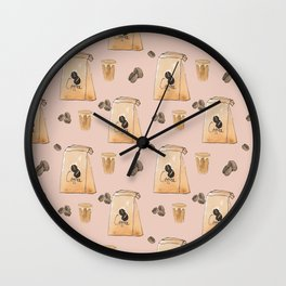 Watercolor Latte Love Pattern Wall Clock