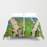 birch Duvet Covers featuring Blue Birch by BeachStudio