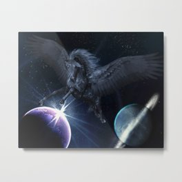 Black Pegasus Metal Print