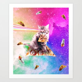 Outer Space Pizza Cat - Rainbow Laser, Taco, Burrito Art Print