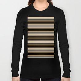 Tan Brown and Black Horizontal Var Size Stripes Long Sleeve T-shirt