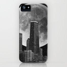 Full Moon Over Chicago Illinois Skyline iPhone Case