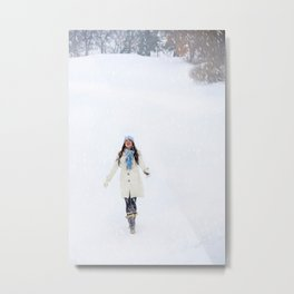 Enjoying Winter Metal Print